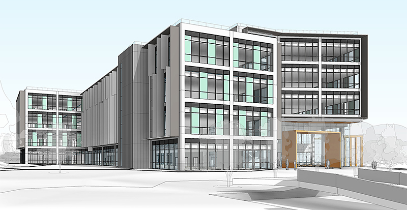 Artist's impression of The Approach, a new office development on Hunts Ground Road, Stoke Gifford, Bristol.
