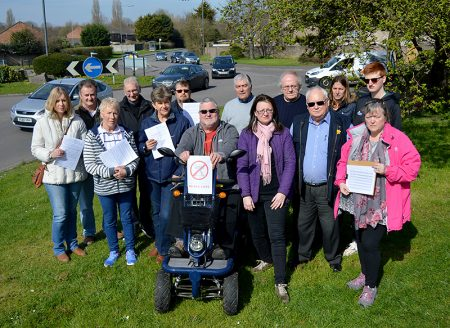 Campaigners opposed to the construction of a bus lane along Hatchet Road, Stoke Gifford.