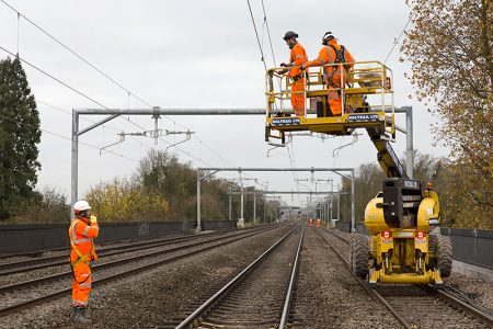 Photo of railway electrification work.