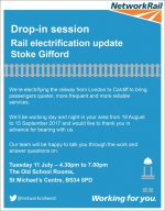 Poster advertising the Network Rail drop-in session.