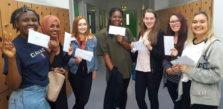Post-16 students receive exam results at Abbeywood Community School.