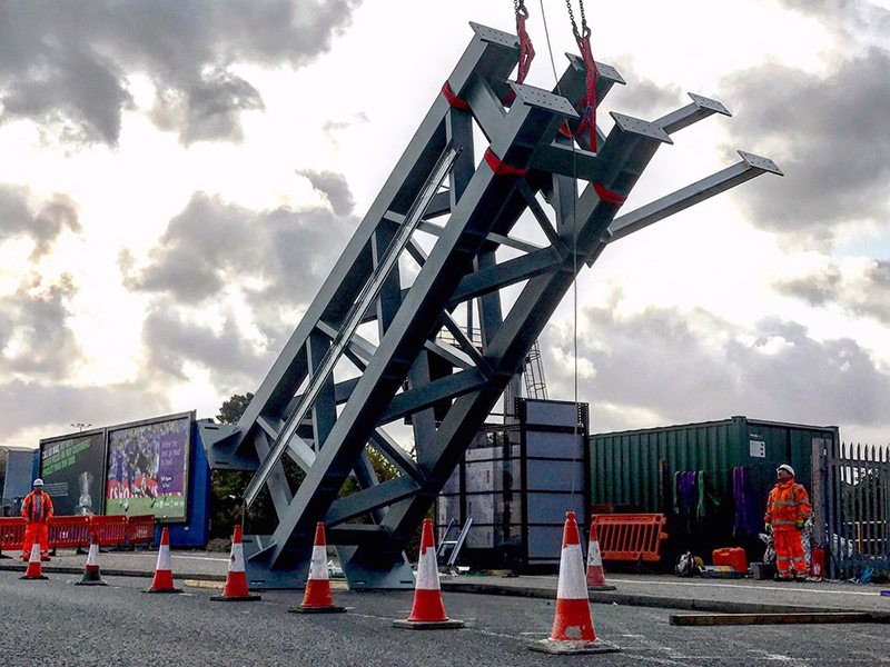 Photo of new signalling gantry being installed at Bristol Parkway.