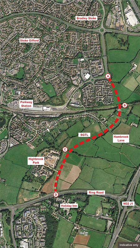 Map of the Stoke Gifford Transport Link (a.k.a. Stoke Gifford By-Pass).