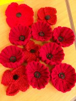 Remembrance poppies made by the St Mike's Yarn Bombers.