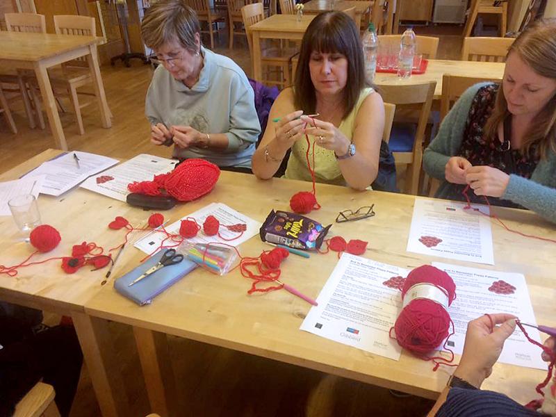 St Mike's Yarn Bombers poppy workshop.
