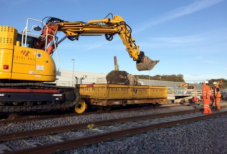 Work on installing a new fourth platform at Bristol Parkway Station.