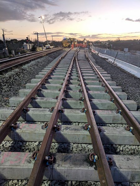 New track goes in at Bristol Parkway Station.