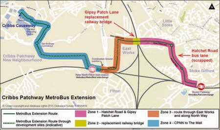 Cribbs Patchway MetroBus Extension route map.
