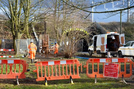 Photo of contractors carrying out ground investigations near the Gipsy Patch Lane railway bridge.