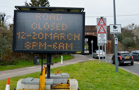 Photo of a matrix sign displaying information about roadworks at Parkway Bridge.