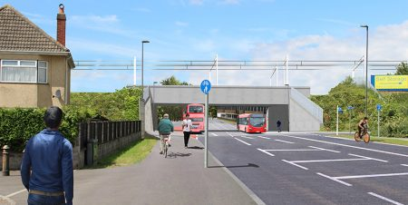 Photomontage of the proposed replacement railway bridge on Gipsy Patch Lane, looking westwards