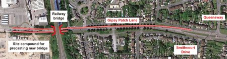 Indicative diagram showing proposed new bus lanes on Gipsy Patch Lane.