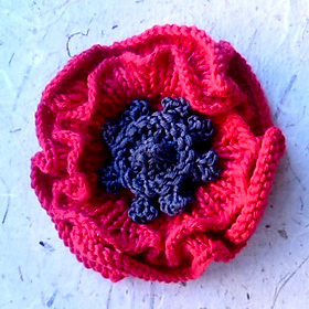 Photo of a knitted poppy.