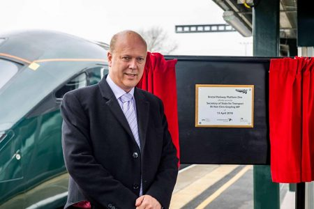 Photo of transport secretary Chris Grayling unveiling a plaque to mark the official opening of the new platform.