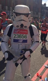 Jez Allinson, 'The Running Stormtrooper', taking part in the 2018 London Marathon.
