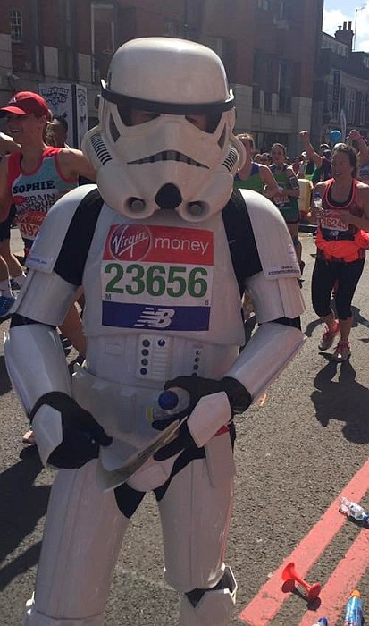 Jez Allinson, 'The Running Stormtrooper', taking part in the 2018 London Marathon.