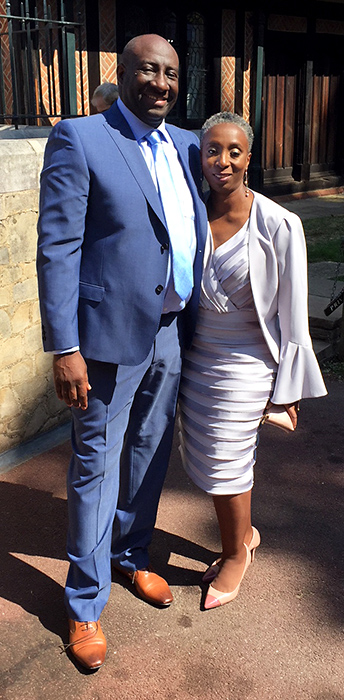 Photo of Vernon and Kim Samuels at Windsor Castle.