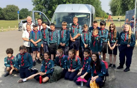 1st Little Stoke Scouts ready to set off for summer camp.