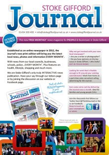 Stoke Gifford Journal magazine launch leaflet (page 1).