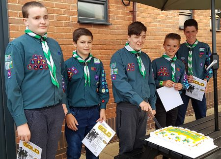 Photo of Chief Scouts's Gold Award winners (l-r) Matthew, Dan, Dylan, Josh and Jack.
