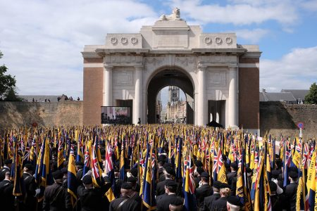 Photo of the Great Pilgrimage 90 ceremony in progress at the Menin Gate.