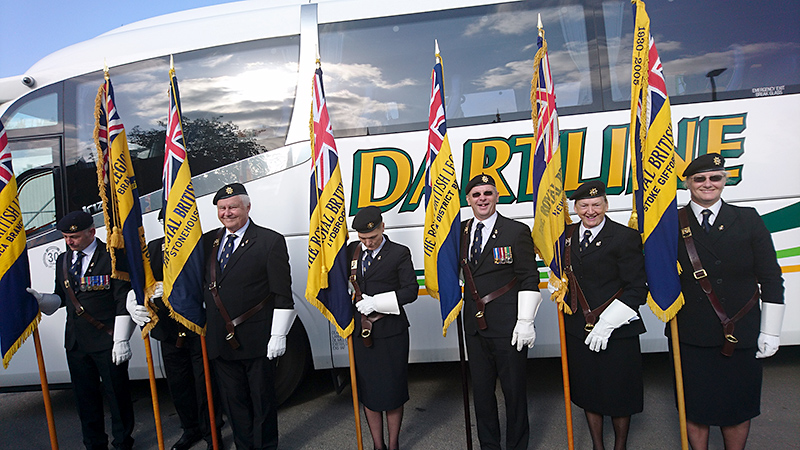 Photo of a group of standard bearers at the GP90 event.