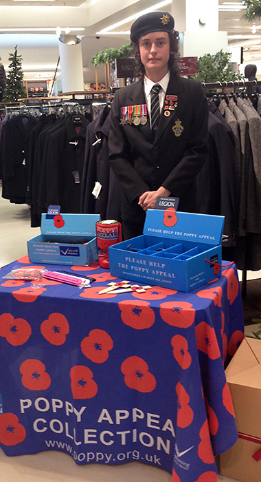 Photo of Billy Wilde collecting for the Stoke Gifford RBL at Cribbs Causeway.