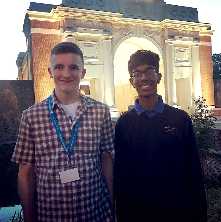 Photo of Tom and Anish at the Menin Gate.