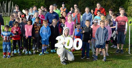 Photo of participants gathered at the start of the 200th junior parkrun event.