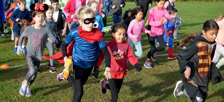 Photo of the start of the 200th junior parkrun in Little Stoke Park.