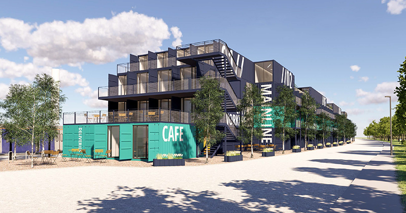 Artist's impression of the proposed container-based business centre.