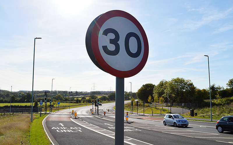 Photo of a 30mph sign on the Stoke Gifford By-Pass (May 2019).