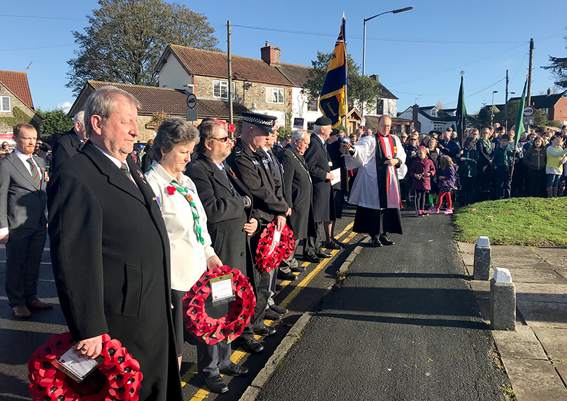 Photo of the wreath layers at the Stoke Gifford Remembrance ceremony.