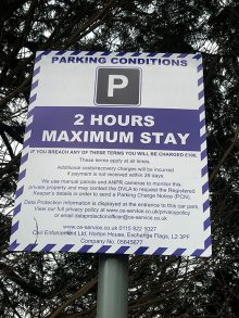 Photo of parking conditions signage (detail).