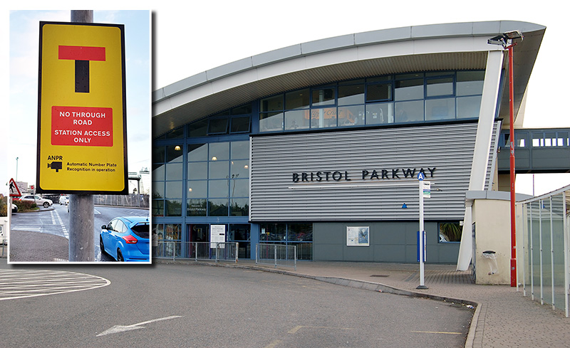 Composite image showing a photo of a 'No through road' sign superimposed on a photo of Bristol Parkway Station.