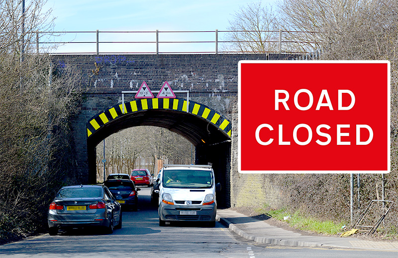 Photo of Gipsy Patch Lane railway bridge (looking westwards) with superimposed image of a 'Road Closed' sign.