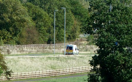 Photo of a police mobile speed camera van positioned on the northbound side of the by-pass.