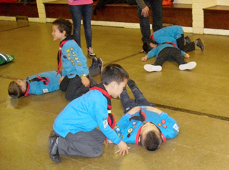 Photo of Beaver Scouts receiving first aid training from St John Ambulance volunteers.