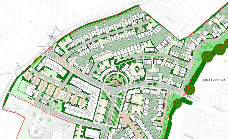 Land at Harry Stoke planning layout (February 2019, extract)