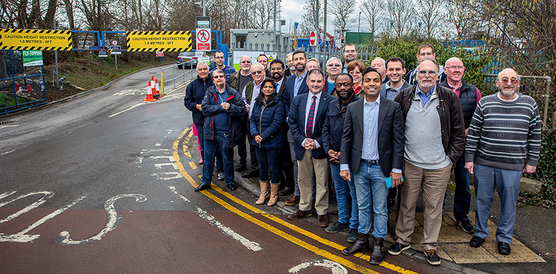 Photo of Conservative councillors standing at the entrance to Little Stoke Sort It Centre.