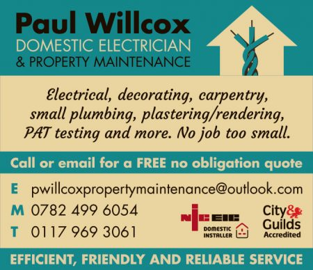 Paul Willcox, domestic electrician in Stoke Gifford.