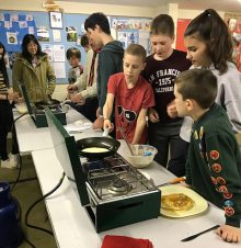 Photo of pancake cooking at 1st Little Stoke Scouts.
