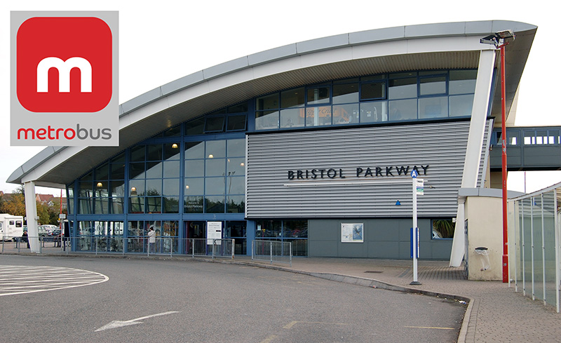 Photo of Bristol Parkway Station with the MetroBus logo superimposed.