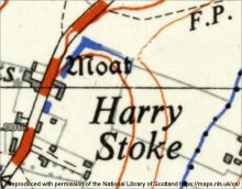 Ordnance Survey map of 1951, showing a 'moat' near the hamlet of Harry Stoke.