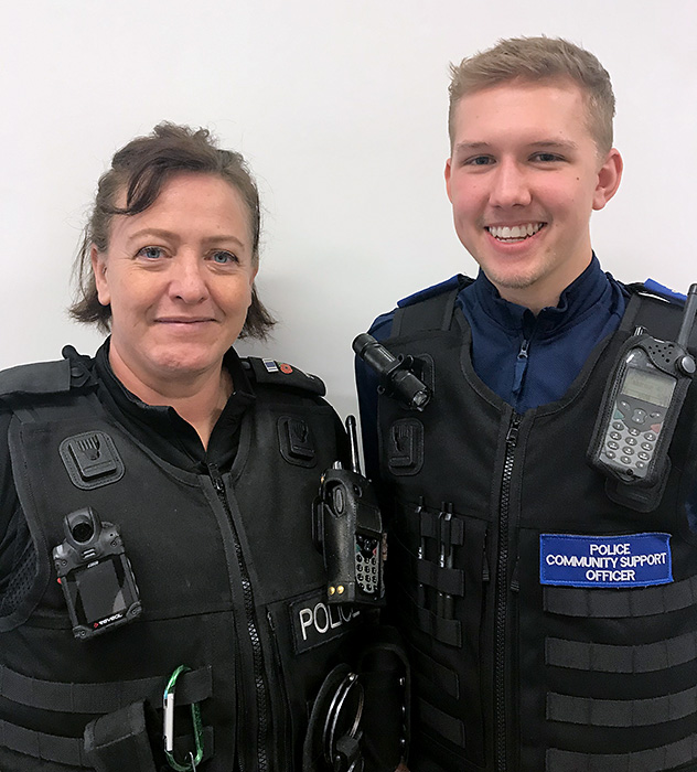 Photo of PC Julie Rudyard and PCSO Archie Flook.
