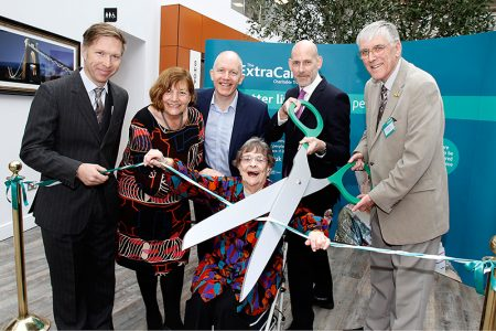 Photo of the ribbon-cutting ceremony at the official opening.