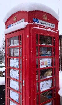 Photo of the toy library in the snow.