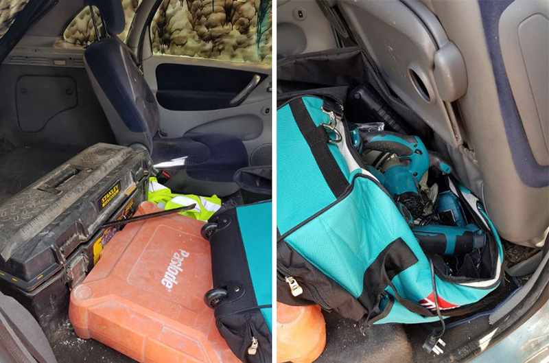 Two photos of suspected stolen power tools found inside a vehicle.
