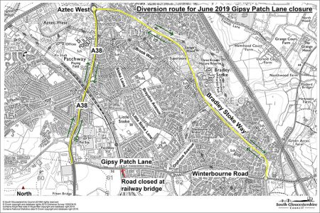 Gipsy Patch Lane signed diversion route June 2019.