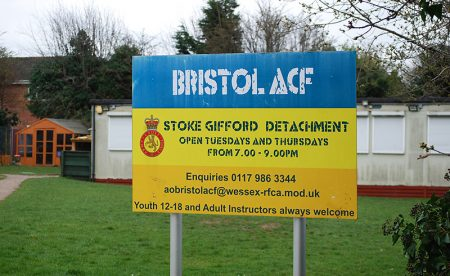Photo of the sign outside the base of the Stoke Gifford detachment.